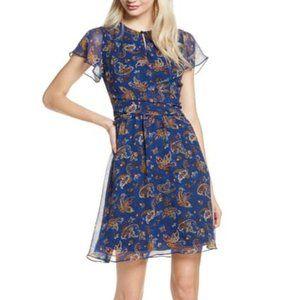 Sam Edelman Paisley Print Short Sleeve Mini Dress